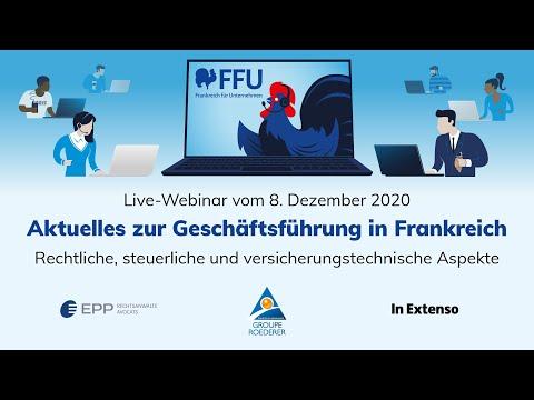 Aktuelles zur Geschäftsführung, Webinar vom 8.12.2020 | FFU - Frankreich für Unternehmen